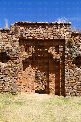 Large doorway in west wall of Inca temple of Iñak Uyu, Moon Island, Lake Titicaca, Bolivia