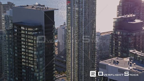 Toronto Ontario Panning birdseye of CityPlace with water and expressway views from high rise perspective