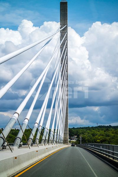 The Penobscot Narrows Bridge over the Penobscot River in Maine