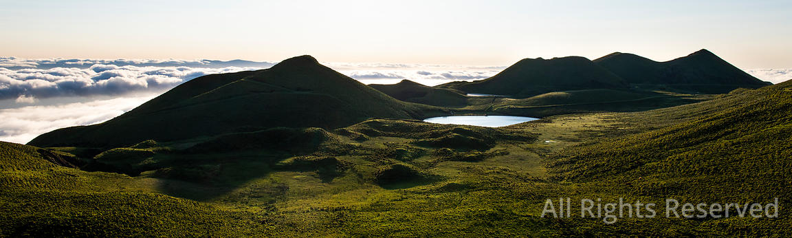 Amazing Panorama Landscape Above the Cloudline at Pico Island Showing Lago De Peixinho (lagoa Do Peixinho), Green Meadows Wit...