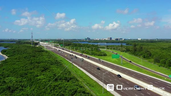 Aerial video nice landscape on the I275 to St Petersburg Florida USA