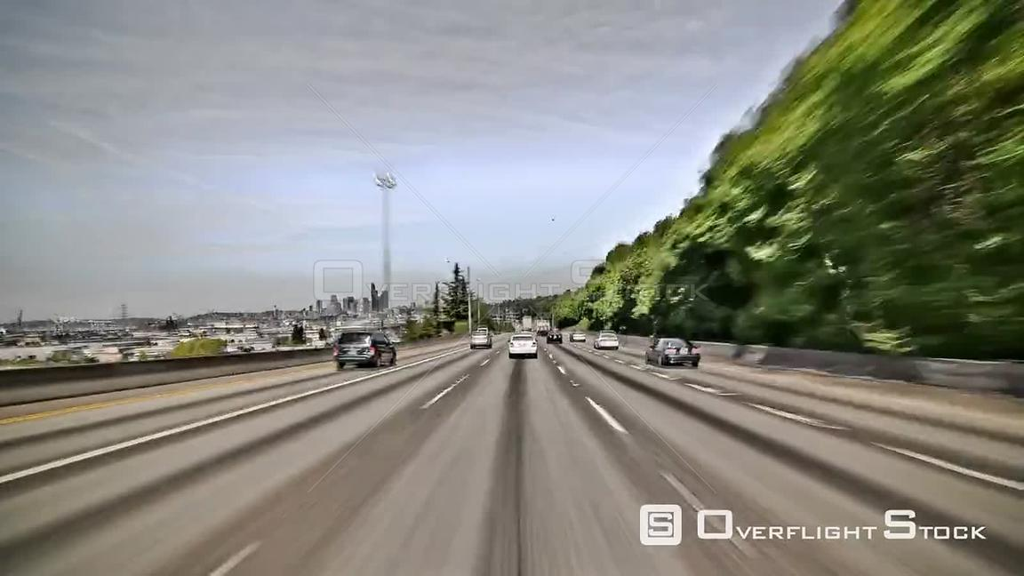 Seattle Washington State USA Seattle highway driving time lapse clip using a cartoon like video effect.