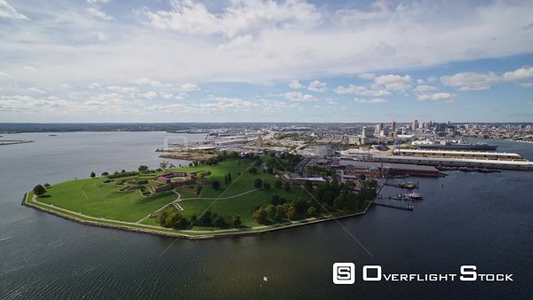 Baltimore Maryland Aerial Traveling panoramic detail view of Fort McHenry Harbor with inner Harbor views