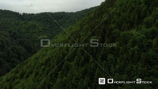 Mountainous Forest Terrain Piatra Craiului Mountains in Romania Drone Video