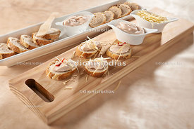 Appetizer of slices of bread with pâté