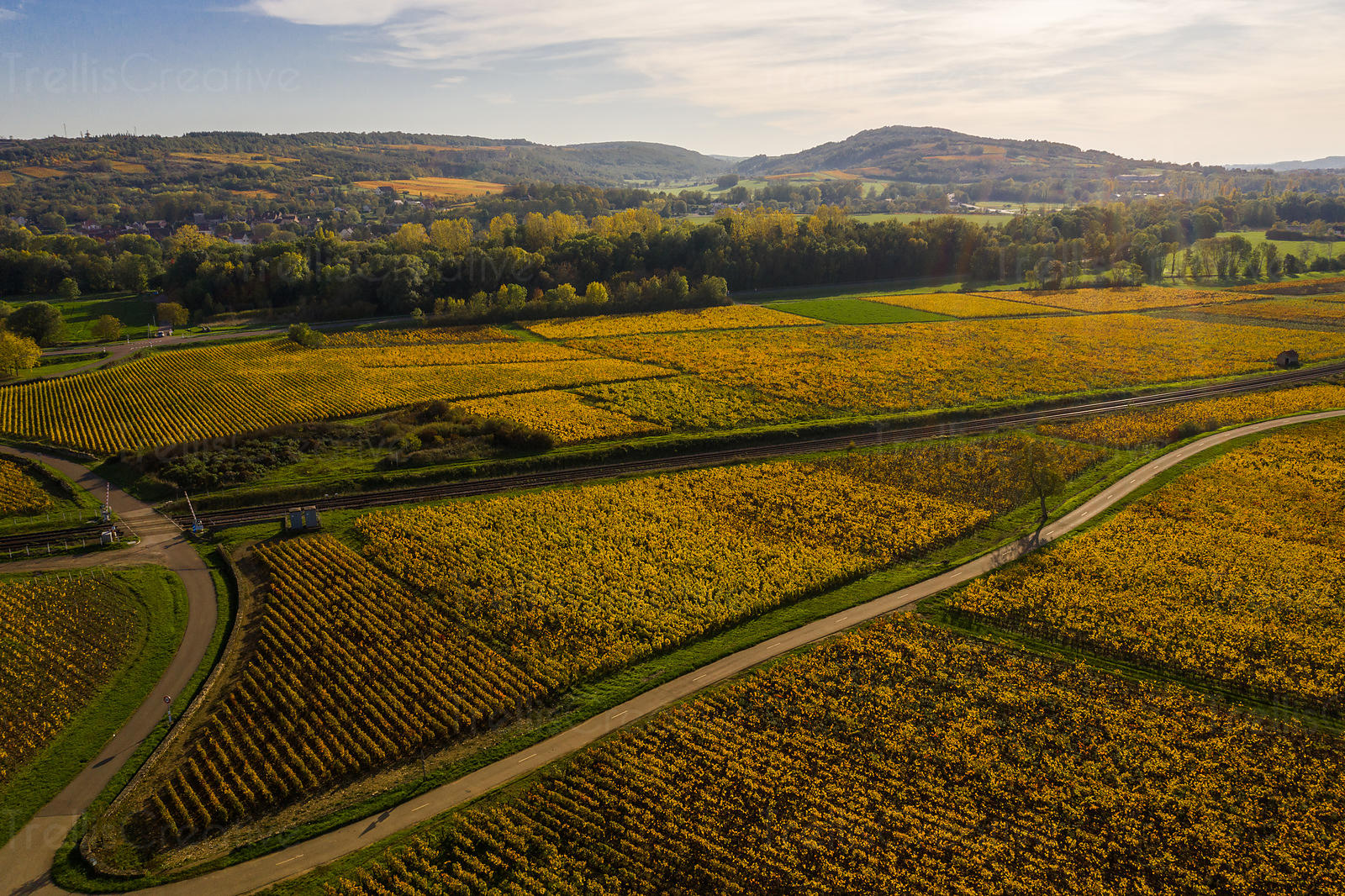 Aerial photo of the Voie Des Vignes that passes through beautiful vineyards of Burgundy, France