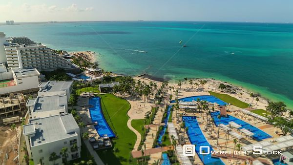 Beach and Resort Complex time lapse of beautiful Caribbean Sea Cancun Mexico