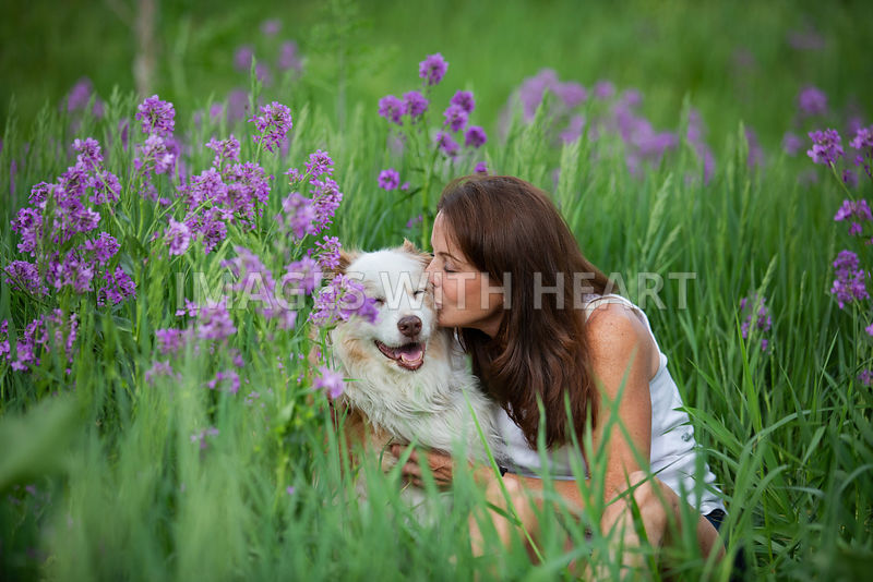 Woman_Kissing_Dog_In_Grass_Purple_Flower_Field