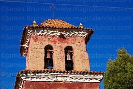 Detail of belfry of the church of the Señor de la Cruz, Carabuco, La Paz Department, Bolivia
