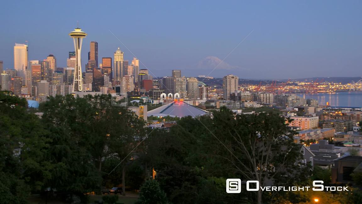 Seattle Washington State USA Seattle cityscape time lapse after sunsetShot from Kerry Park.