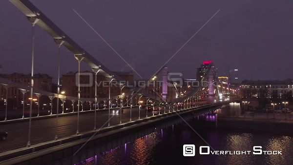 Night Pass by of the Krymskyi Bridge, City Lights. Moscow Russia Drone Video View
