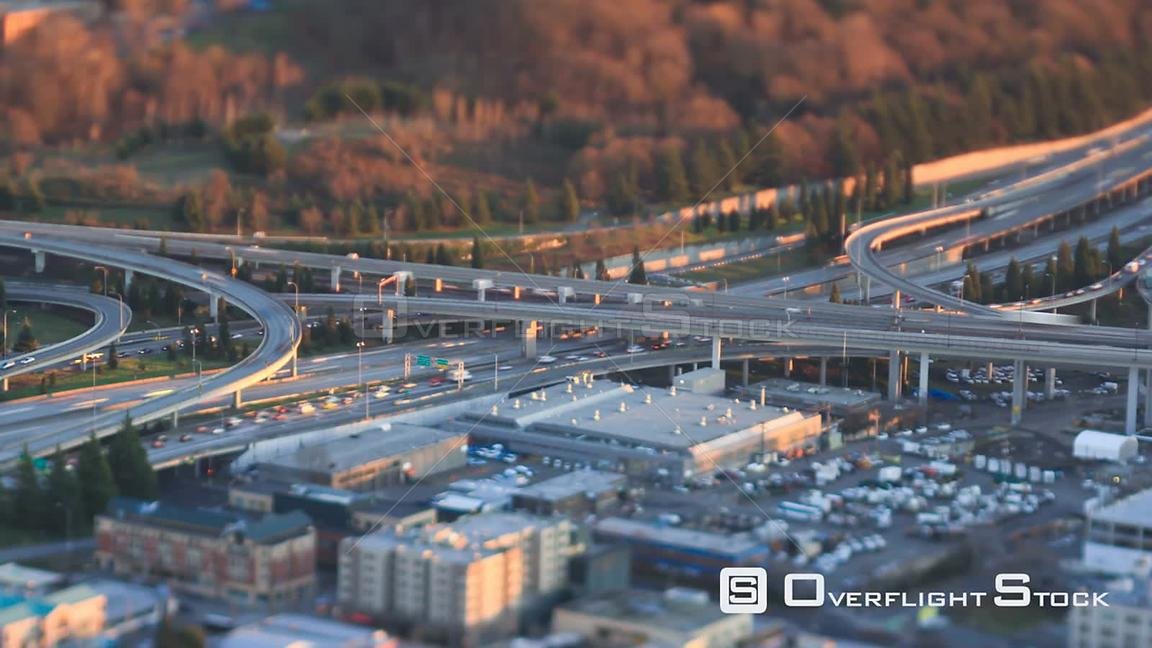 TIme lapse clip of freeway traffic during sunset Seattle Washington