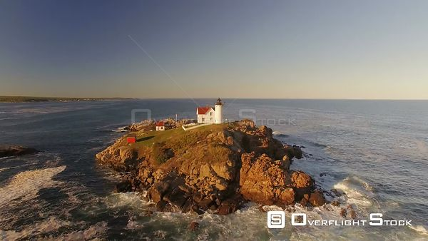 Flying low around Nubble Lighthouse at sunset. York Maine