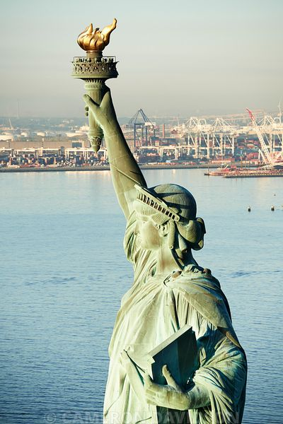 Aerial of the Statue of Liberty