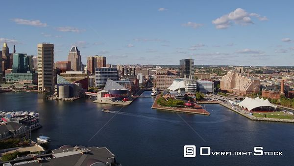Baltimore Maryland Aerial Flying around rotating toward inner harbor views with pavilion