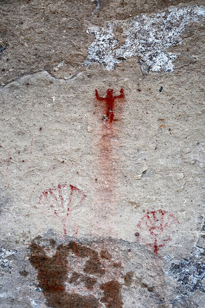 Detail of rock painting of human figure at Tomas Laq`A site near Villa Mar, Potosí Department, Bolivia