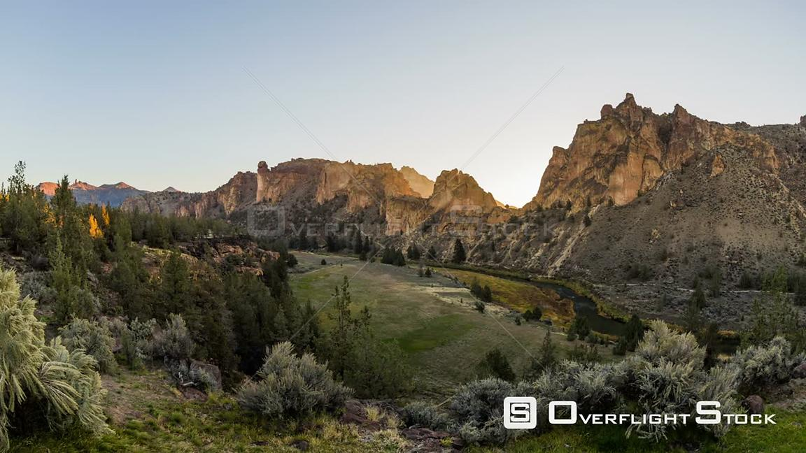 Oregon USA Smith Rocks panning time lapse during sunrise.