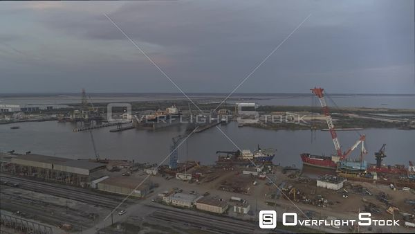 Mobile Alabama shipyards and cityscape at sunset right to left pan  DJI Inspire 2, X7, 6k