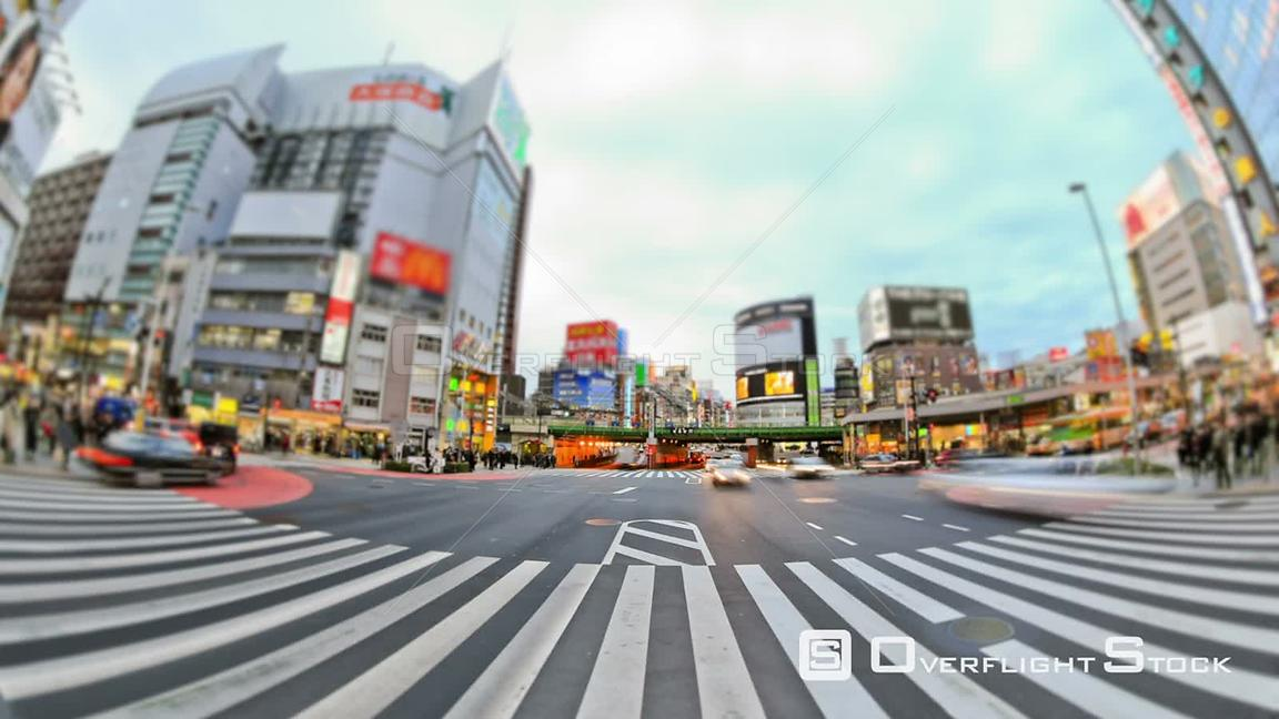City traffic time lapse of busy Tokyo streets near Shinjuku Japan