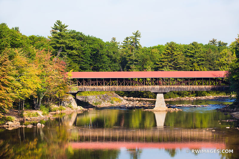 RED COVERED BRIDGE CONWAY NEW HAMPSHIRE COLOR FALL