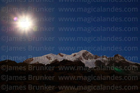 Full moon rising above Pico Schulze (a peak on the west side of the Mt Illampu massif), Bolivia