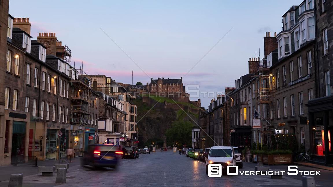 Timelapse View of Castle Street in Edinburgh Scotland at Sunset