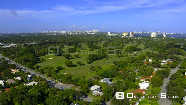 Aerial Video Miami Shores Neighborhood Florida Usa