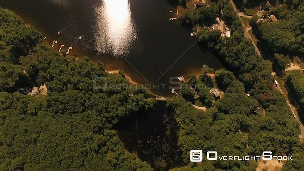 New Hampshire USA  Flying over Franklin Pierce Lake and lake homes looking down vertically.