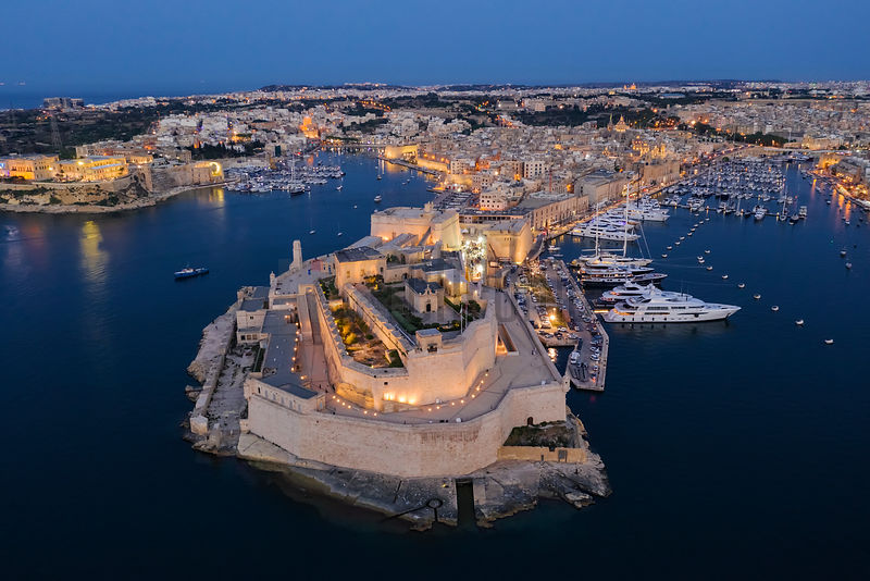Aerial View of Fort St Angelo at Blue Hour