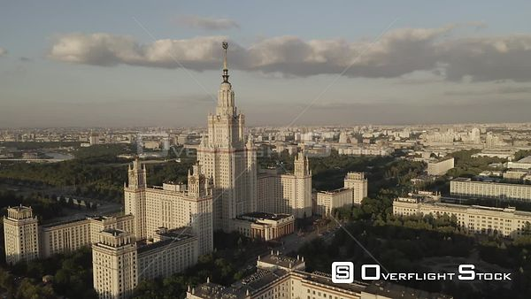 Orbit Flight Pass the Moscow State University. Moscow Russia Drone Video View