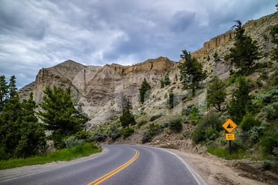 A long way down the road of Yellowstone National Park, Wyoming