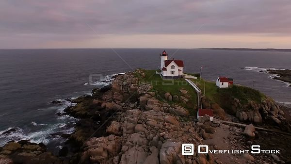 Flying low around Nubble Lighthouse panning at sunset. York Maine