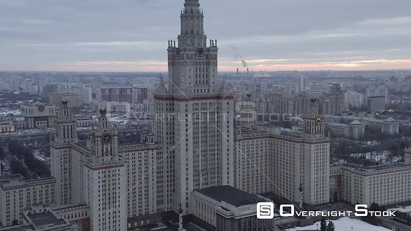 Forward Flight Towards the Moscow State University. Moscow Russia Drone Video View