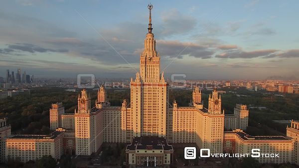 Moscow State University Forwardflight During the Summer Sunset. Moscow Russia Drone Video View