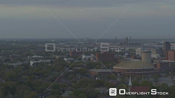 Mobile Alabama descending panning clip of civic center and downtown skyline  DJI Inspire 2, X7, 6k