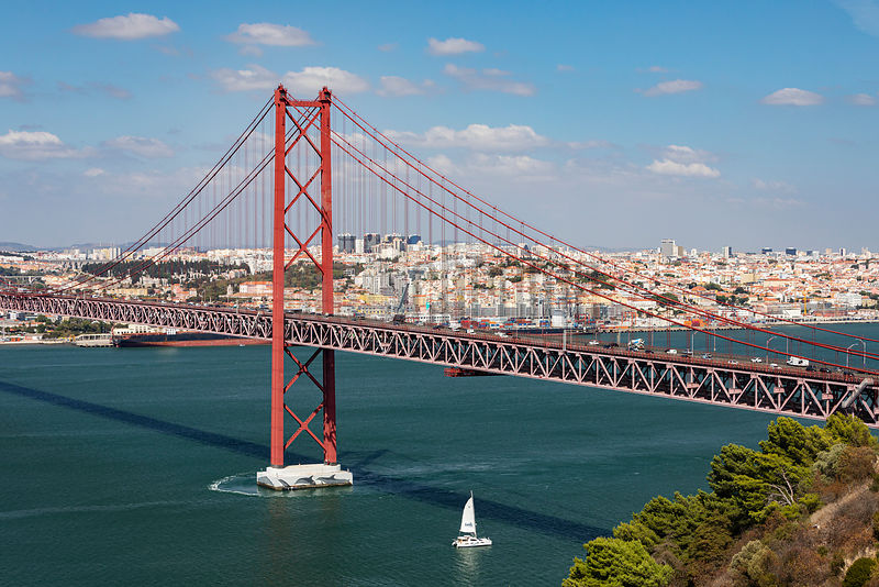 The Ponte 25 de Abril Suspension Bridge from the Lisbon Youth Hostel