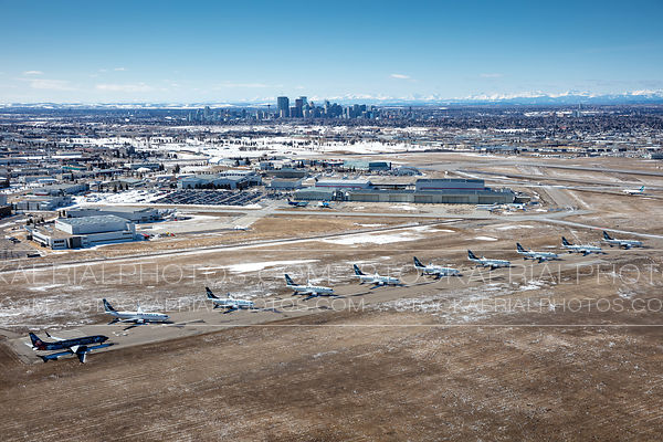 Westjet aircraft parked at Calgary International Airport due to the COVID-19 pandemic