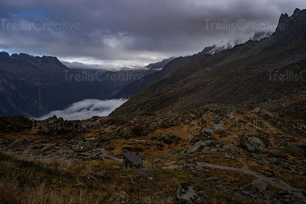 A rocky trail through the mountain pass in the French Alps