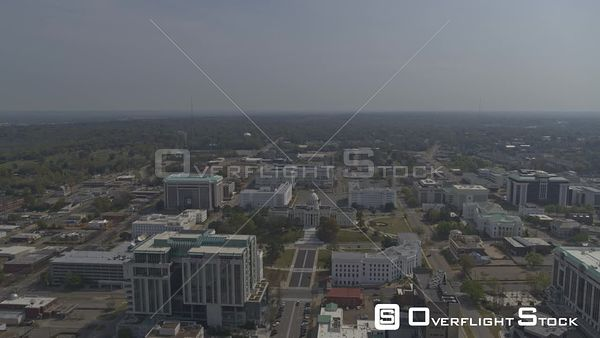 Montgomery Alabama panning birdseye view of the capitol buildings and surrounding areas  DJI Inspire 2, X7, 6k