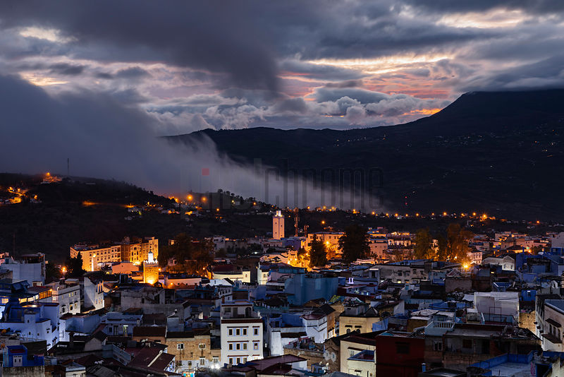 Elevated View of the City of Chefchaouen at Dusk