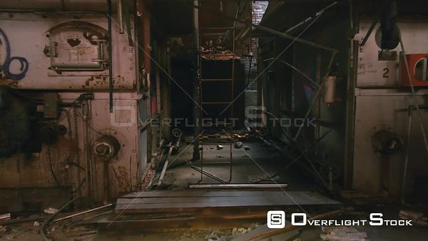 Interior of a Rundown Abandoned Factory in Ruins.