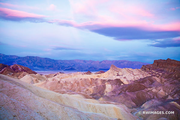 ZABRISKIE POINT BEFORE SUNRISE DEATH VALLEY CALIFORNIA PINK DAWN COLOR
