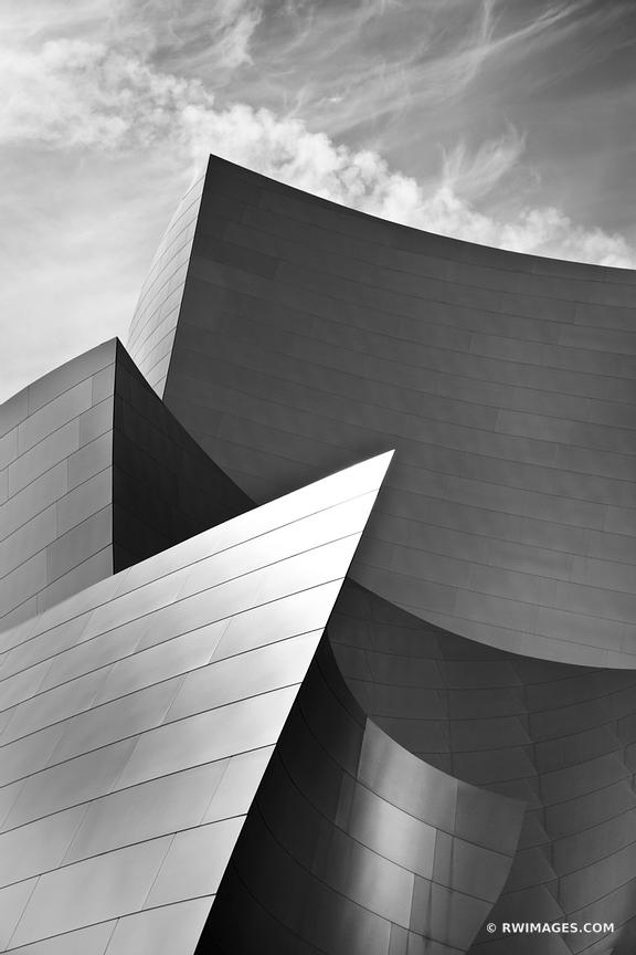 WALT DISNEY CONCERT HALL DOWNTOWN LOS ANGELES CONTEMPORARY ARCHITECTURE BLACK AND WHITE