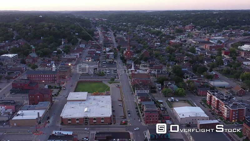 City Overview with 4 churches, Dubuque, Iowa, USA