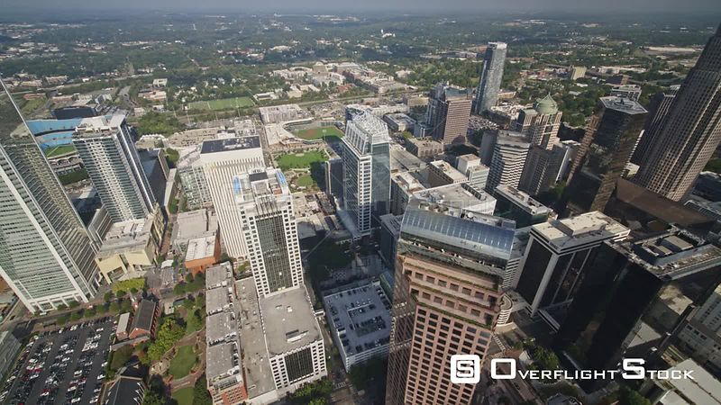 North Carolina Charlotte Aerial Detail birdseye view of downtown