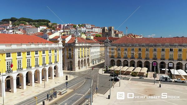 Descending, in Praca Do Comercio, Terreiro Do Paco,in Lisbon, Empty Streets, During Covid-19 Pandemic, on a Sunny Day, Portugal