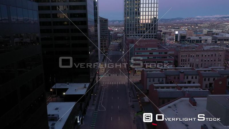 Denver, CO US. COVD-19 Empty Lawrence Street During Pandemic Lockdown