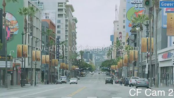 Hollywood Blvd Theaters  Los Angeles California USA - Center Front View Driving Plate Cam2 Apr 7, 2020