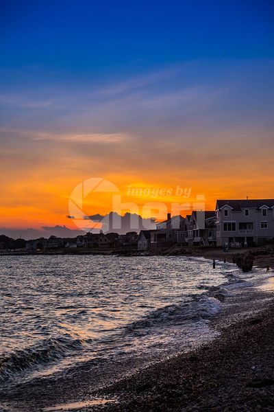 A dramatic vibrant sunset scenery in Cape Cod Martha's Vineyard, Massachusetts
