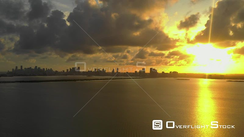 Aerial video showing an amazing sunset over the bay